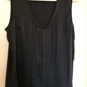 Black Silky Tank W/Pleating Detail